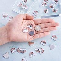 100pcs Rainbow Cloud Shape Alloy Enamel Pendants Charms for Jewelry Making DIY Bracelet Necklace 17.5x19x1.6mm Hole 2mm