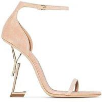 Klasikler Kadın Ayakkabı Sandalet Topuklu Moda Plaj Kalın Alt Elbise Ayakkabı Alfabe Lady Sandal Deri Yüksek Topuk Slaytlar Home011 06