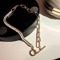 Colar de cristal geométrico de criatividade para mulheres top designer louro pescoço de jóias incrustadas Alta qualidade AAA Zircon Chokers