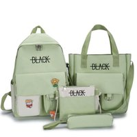 4Pcs Set Large Capacity Letter Print School Bags Pencil Case Tote Set 15.6-inch Laptop Backpack Unisex Travel Casual Rucksack