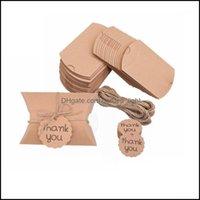 Wrap Event Festive Party Supplies Home & Gardenmini Pillow Shape Candy Boxes Kraft Paper Diy Craft Gift Box Bag Wedding Favors Birthday Xmas