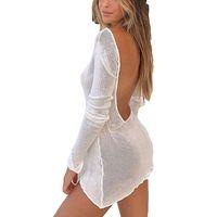 Sexy White Beach Cobertura Up Summer Sun à prova de sol Biquíni Cover-Ups Peareo Dress Mesh Backless Mini Vestidos