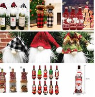 미국 주식 크리스마스 항목 플러시 격자 무늬 병 모자 크리 에이 티브 새로운 병 가방 북유럽 가족 와인 캡 린넨 샴페인 병 장식