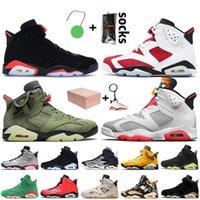 Avec Box Top Qualité Jumpman 6 6S Mens Basketball Chaussures Noir Infratriée 2021 Carmin Travis Scotts HareJordanie rétro Electric Vert Baskers Sneakers
