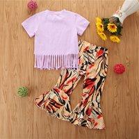 Kızlar Kıyafetler Bebek Kız Giysileri Yaz Çocuk Setleri Toddler Kısa Kollu Karikatür Pamuk T Shirt Flared Pantolon 2 adet 0-4Y0 709 X2