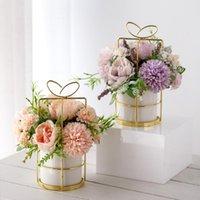 Decorative Flowers & Wreaths Artificial Flower Pot Floral Fake Bouquet With Vases For Home Office Desktop Decoration Wedding Accessories Dec