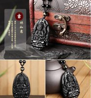 South Korea Obsidian Crystal Necklace manufacturer wholesales natural Benming Buddha eight patrons pendant for men and women