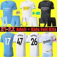 S-4XL Manchester Futbol Forması 21 22 G. İsa Şehir Sterling Ferran De Bruyne Foden Fanlar Oyuncu Sürüm 2021 2022 Futbol Gömlek Adam Üniforma Erkekler + Çocuklar Kiti