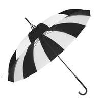 Design criativo preto e branco de golfe listrado guarda-chuva de longa mão pagoda guarda-chuva owb8901