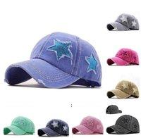 ذيل حصان القبعات الترتر الخماسي قبعة البيسبول غسلها ثقب الكلاسيكيات الكرة قبعات النساء للتعديل الرياضة في الهواء الطلق headgear BWA6934