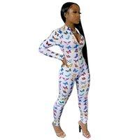 Set Sportswear Set S-XXL Casual Jumpsuit Butterfly Patchwork Jumpsuit Jumpssuit Femme Col V-Col V-Col V »Femme Imprimé