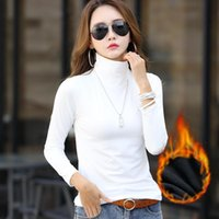 Women's Sweaters TOPPICK Autumn Sweater Solid Color Long Sleeve Turtleneck Women Pullover Padded Velvet Warm Top Plus Size