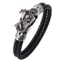 Tennis Classic Fashion Creative Design Double Black Leather Woven Sports Casual Business Gift Hip Hop Rap Men's Bracelet