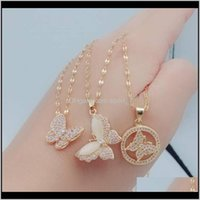 Necklaces & Pendants Jewelry 3 Styles Titanium Steel Necklace Diamond Clavicle Chain Cute Butterfly Pendant Fashion For Women Girls Jewelry D