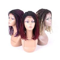 16 Inç Örgülü Peruk Siyah Kadınlar Için Dantel Frontal Peruk Sentetik Afro Cornrow Örgüler Dantel Peruk Ile Bebek Saç Kutusu Örgüler Peruk