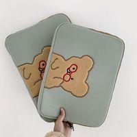 Clutch Bags Korea Fashion Girls Soft Mini Laptop Bag 15 13 11 10.5 9.7inch Travel Business Mac Case Bear Women Cute Ipad