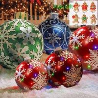 60cm 크리스마스 공 장식 야외 크리스마스 장식 PVC 풍선 장난감 공 홈 크리스마스 선물 LED 빛 G0915없이