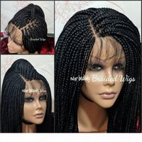 Free Part Box Braids Wig black brown blonde red brazilian full lace front Wig Jumbo braids synthetic wig Baby Hair Heat Resistant