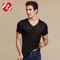 2021 летние новые мужские V-образные вырезы с коротким рукавом шелковица шелковая двойная трикотажная рубашка T-Rethps5m