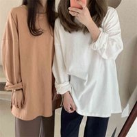 Colorfaith New Women Spring Summer T-Shirts Oversize Solid Bottoming Long Sleeve Wild Korean Minimalist Style Tops