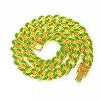 HIP HOP 11MM Heavy Miami Cuban Chaîne Collier coloré Collier HiPhop Gold Couleur Mode Bijoux pour Hommes 292 J2