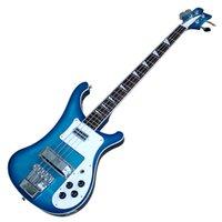 파란색 4 문자열 4003 ricken 전기베이스 기타와 화이트 피크 가드, 로즈 우드 fretboard