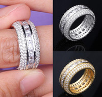 White 18k Hip Hop Cz Ring Jewelry Zirconia Band Luxury Cubic Gold Diamond Blingbling Gold Men & For & Ring Set Fashion Finger Full Ne sqcOB