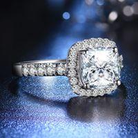 Обручальные кольца 18K белое позолоченное покрытие 3CT циркона подушка с алмазным кольцом для женщин стерлинговые серебряные украшения