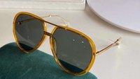 Óculos de sol piloto 0904 Lentes Verdes Amarelas Sonnenbrille Gafa de Sol Moda Óculos de Sol UV400 Proteção Eyewear com caso