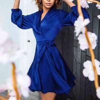 Casual Dresses Sexy Low Cut Satin Party Women Bandage Lantern Sleeve Mini a Line Pajamas Homewear Club Autumn D7OQ