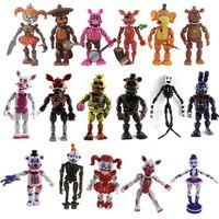 6pcs / lot cinq nuits à Freddys Bear Poupée 13cm Blocage de la lumière PVC FNAF Freddy Anime Vinyl Nendoroid Action Toy Figurines