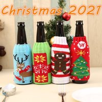 DHL new christmas knitted wine bottle cover party favor xmas beer wines bags santa snowman moose beers bottles covers wholesale