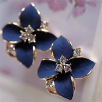 Gioielli moda tridimensionale auricolare opaco clip blu fiori di cristallo oro orecchini perforati femmina elegante orecchino elegante 518 z2