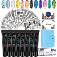 Nail Art Kits BIUTEE 19PC Stamping Plates Set 8 Color Gel Kit 15 Polish UV Ge With White Black Colors 2021