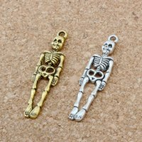 100 pçs / lote Liga Única face humana esqueleto Halloween charme para jóias, brincos, pingentes, colar e pulseira 39x9mm A-167