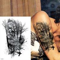 Tatouages temporaires imperméables pour hommes et femme Tatouage Forêt de tatouage Wolf Tatouages Sticker Noir Grand Tatoo Body Body Art 2019 Nouveau grand grand