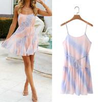 Summer Women Tie Dye Strap Mini Dress Sleeveless Backless Female High Street Short Dress Vestidos XZ21049 210603
