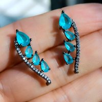 Fashion Flower Stud Earrings For Women Blue Green Colorful Cubic Zirconia Boho Ear Cuff Exquisite Bride Party Small