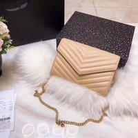La borsa a tracolla in pelle è dotata di una catena da WOC in scatola. Classiche borse da ragazza di alta qualità in mano. Borse di design di moda di lusso da donna.