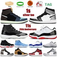 Con caja 1 1s 11 11s hombres mujeres zapatos de baloncesto Toe de plata Tokio Bio Negro 25 Aniversario Bajo Blanco BRED MENS Sneakers