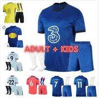 الكبار Kids Kit + Socks 20 21 22 Pulisic Ziyech Soccer Jersey 2021 2022 Havertz Kante Werner Abraham Chilwell Mount Jorginho Giroud Football Shirt Men 4th Top