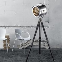 Floor Lamps Nordic Retro Tripod Lamp Silver Golden Industrial Searchlight Creative Studio Standing Light Stainless Steel Shade+Iron