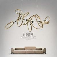 Lâmpadas Pingente Nórdico Anéis Minimalism LED G9 Luzes Lustres Placa de Brass Golver Sala de estar Drop Lumbarias Luminarias Luminarias