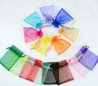 100pcs / lot organza bijoux pochettes sacs mélangez couleur pour femme bricolage emballage affichage cadeau de mode W31