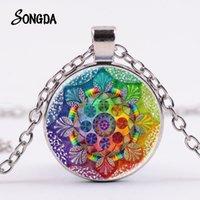 Yutong Indian Sanskrit Om Symbol Halskette OHM OM AUM Buddha Lotus Silber Überzogene Blume des Lebens Mandala Kunst Glaskette Schmuck