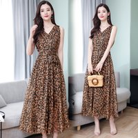 Vestido de leopardo para mujeres con cuello en v moda suelta casual diario de verano elegantes vestidos largos 234