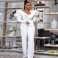 African White Jumpsuit Evening Dresses 2021 Sexy V Neck Long Sleeve Black Girls Prom Dress With Feather Plus Size Formal Party Gowns Robe De Soirée Mariage