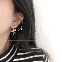 Stud Lolita Punk Rock Earring Cool Angel Star Design Pearl Ear Pendant Street Style All-match No Earhole Earclip Fashion Accessories