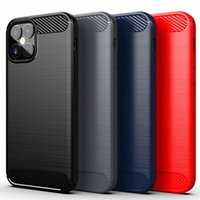 Carbon Fiber Brushed Soft TPU Case For Iphone 6 7 8 plus x xr xs 11 12 pro max samsung s20 s10