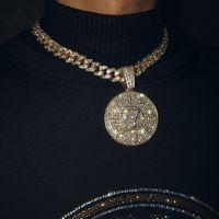 Iged خارج الزركون مكعب لا 7 عملة قلادة مع حجر الراين كبير ميامي الكوبي سلسلة المختنق قلادة الأزياء الهيب هوب الرجال المجوهرات القلائد